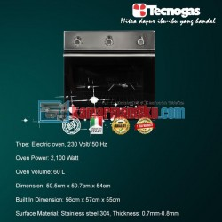 Tecnogas FN3K66E6B Oven Elektrik
