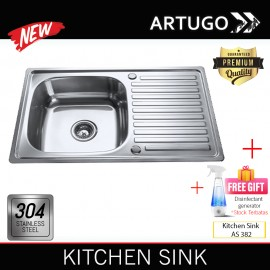 Artugo Kitchen sink AS 231 bak cuci piring stainless steel 304 Premium