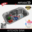 Artugo New Kitchen sink AS 382 bak cuci piring stainless steel 304