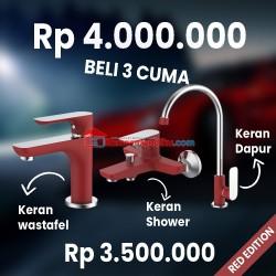 FRAP RED EDITION paket kran air + shower mixer + keran dapur TERBATAS