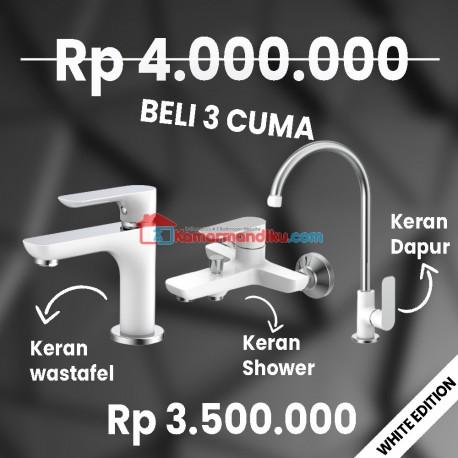 FRAP WHITE EDITION paket kran air+shower mixer+keran dapur TERBATAS