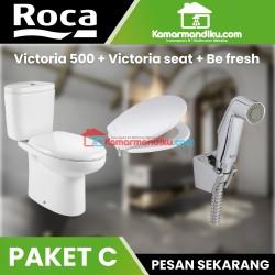 ROCA Paket hemat Toilet victoria+shower toilet+seat dan cover victoria