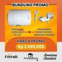 promo pemanas air ferroli 50 liter dan kran shower american standard