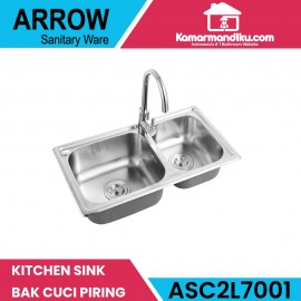 Arrow kitchen sink dapur ASC2L7001 bak cuci piring dan kran dapur free
