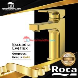 Roca Premium keran wastafel emas hot cool Escuadra Gold series